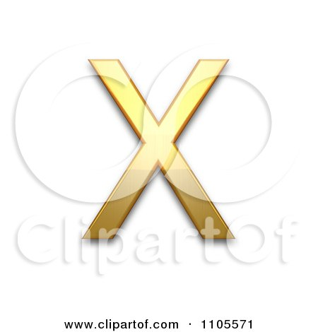 greek letter chi 3d gold capital letter chi clipart royalty free cgi 23074