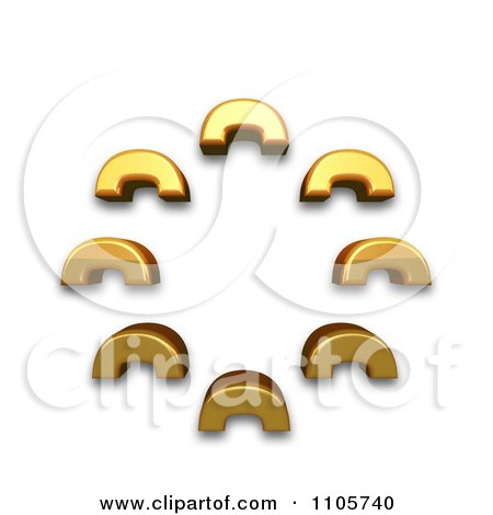 3d Gold combining cyrillic hundred thousands sign Clipart Royalty Free CGI Illustration by Leo Blanchette