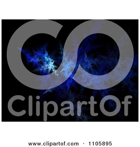 Clipart Blue Fractal Design On Black - Royalty Free Illustration by oboy