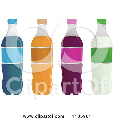 Clipart Four Soda Bottles With Blank Labels - Royalty Free Vector Illustration by Bad Apples