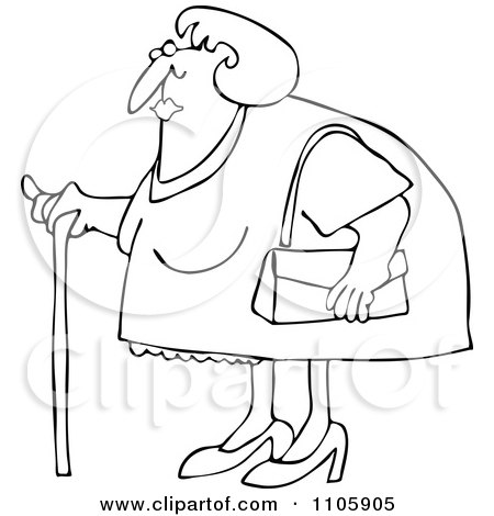 Clipart Outlined Granny Woman Using A Cane - Royalty Free Vector Illustration by djart