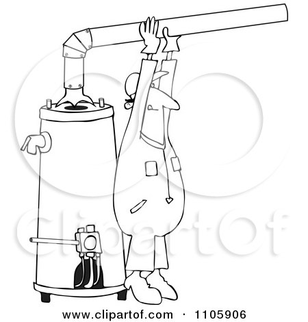 Clipart Outlined Man Installing A Hot Water Heater - Royalty Free Vector Illustration by djart