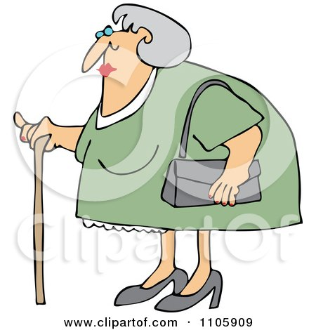 Clipart Granny Woman Using A Cane - Royalty Free Vector Illustration by djart