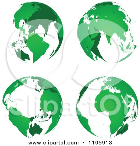 Clipart Green Globes - Royalty Free Vector Illustration by Andrei Marincas