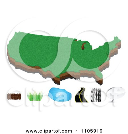 Clipart American Map With Soil Grass Water Road And Chat Icons - Royalty Free Vector Illustration by Andrei Marincas