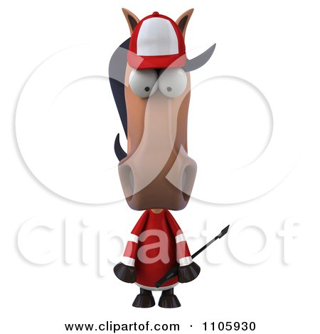 Clipart 3d Polo Horse Pouting - Royalty Free CGI Illustration by Julos