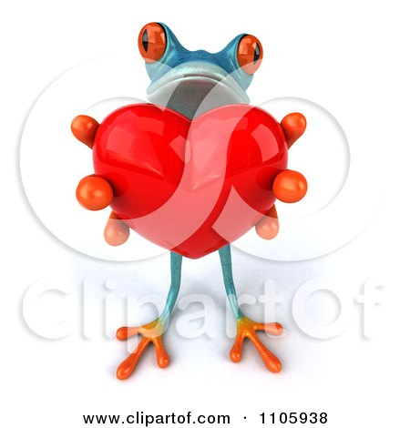 Clipart 3d Turquoise Springer Frog Holding A Heart 1 - Royalty Free CGI Illustration by Julos