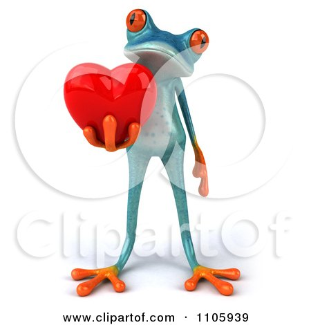 Clipart 3d Turquoise Springer Frog Holding A Heart 2 - Royalty Free CGI Illustration by Julos