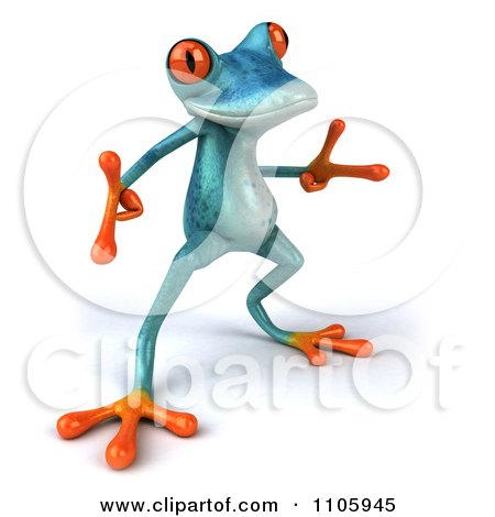Clipart 3d Turquoise Springer Frog Doing A Happy Dance 5 - Royalty Free CGI Illustration by Julos