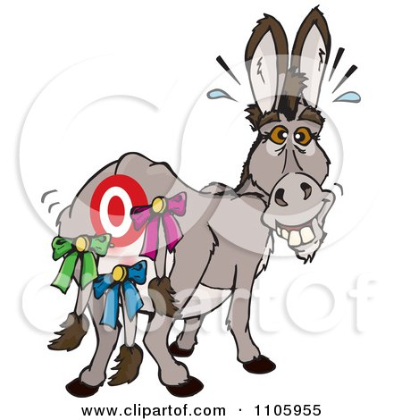 Clipart Donkey With A Target And Tails Pinned On His Butt - Royalty Free Vector Illustration by Dennis Holmes Designs