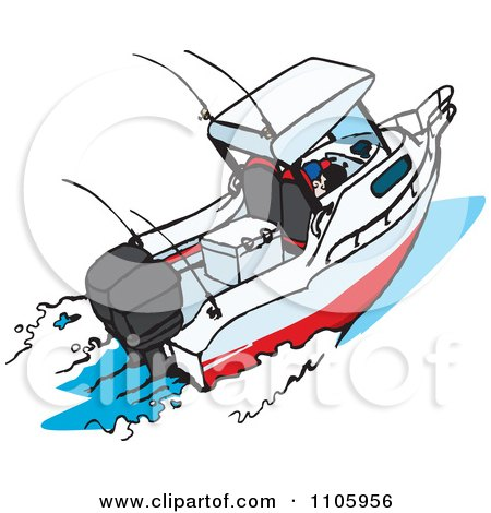 Clipart Motor Boat - Royalty Free Vector Illustration by Dennis Holmes Designs