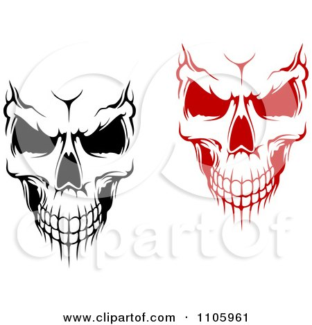 Clipart Evil Black And White And Red Skulls - Royalty Free Vector Illustration by Vector Tradition SM