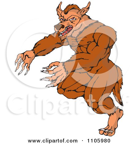 Clipart Fantasy Werewolf Attacking - Royalty Free Vector Illustration by patrimonio