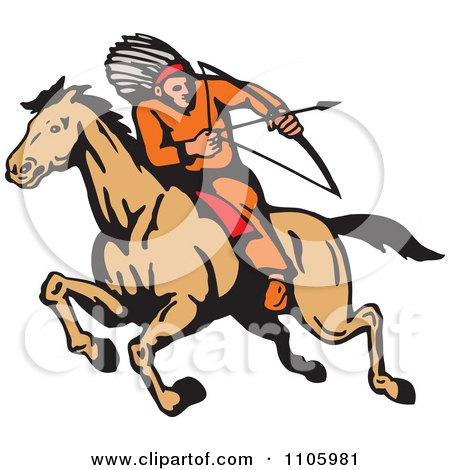 Clipart Native American Male Archer Aiming On Horseback - Royalty Free Vector Illustration by patrimonio