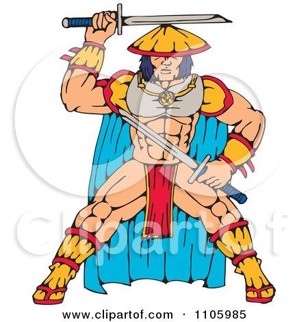 Clipart Samurai Warrior With Katana Swords - Royalty Free Vector Illustration by patrimonio