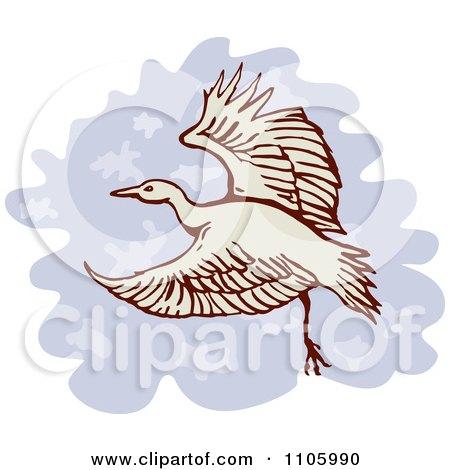 Clipart Heron Or Crane Bird In Flight - Royalty Free Vector Illustration by patrimonio