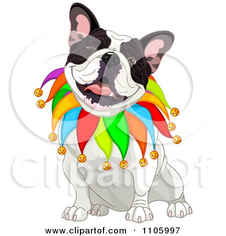 Clipart Happy French Bulldog Jester Sitting And Winking - Royalty Free Vector Illustration by Pushkin