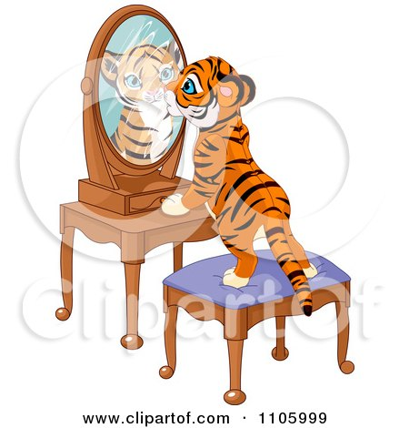 Clipart Cute Tiger Cub Standing On A Stool And Looking Curiously In His Reflectin In A Mirror - Royalty Free Vector Illustration by Pushkin
