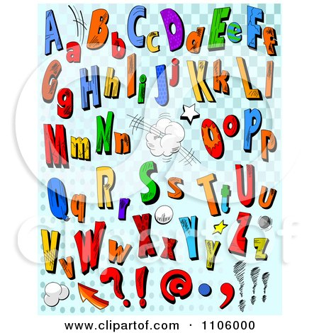 Clipart Comic Letters And Punctuation On Blue Checkers - Royalty Free Vector Illustration by Pushkin