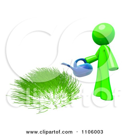 Clipart 3d Lime Green Man Watering Grass - Royalty Free CGI Illustration by Leo Blanchette