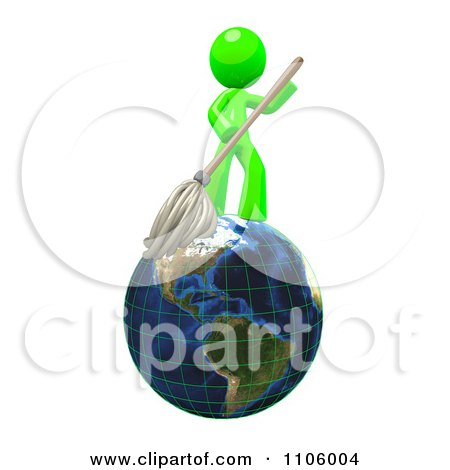 3d Lime Green Man Janitor With A Mop On Earth Posters, Art Prints