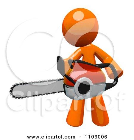 3d Orange Man Using A Chain Saw 1 Posters, Art Prints