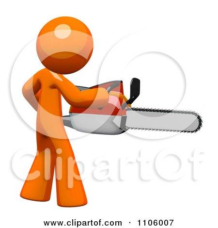 3d Orange Man Using A Chain Saw 2 Posters, Art Prints