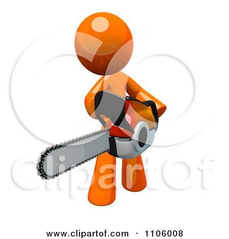 3d Orange Man Using A Chain Saw 3 Posters, Art Prints