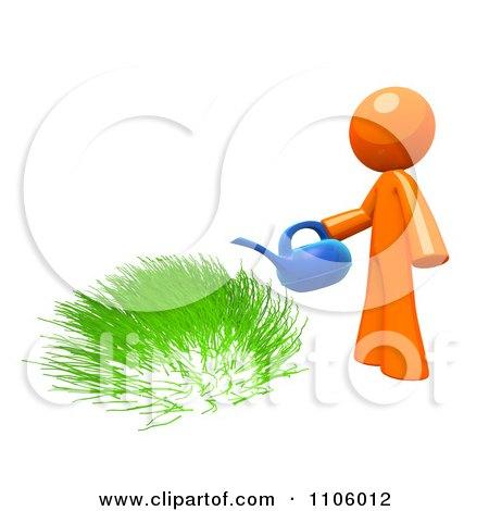3d Orange Man Watering Green Grass Posters, Art Prints
