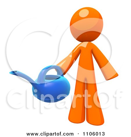 3d Orange Man Holding A Watering Can Posters, Art Prints