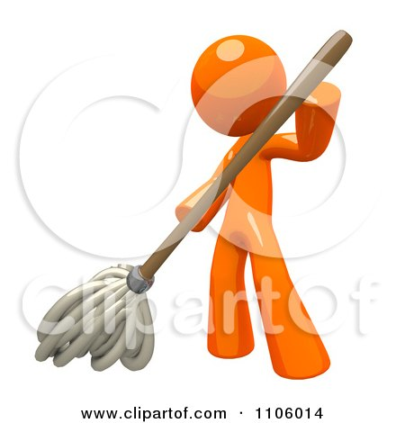 Clipart 3d Orange Man Mopping - Royalty Free CGI Illustration by Leo Blanchette