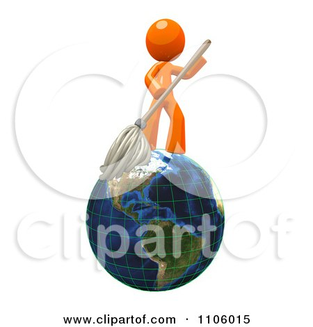 Clipart 3d Orange Man Mopping On A Globe - Royalty Free CGI Illustration by Leo Blanchette