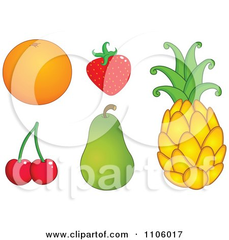 Clipart Whole Foods Navel Orange Strawberry Cherries, Pear And Pineapple Fruits - Royalty Free Vector Illustration by yayayoyo