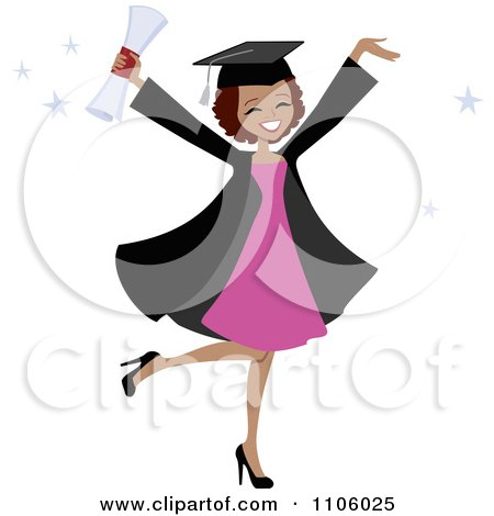 Clipart Happy Black College Graduate Woman Holding Her Arms Up And Her Degree - Royalty Free Vector Illustration by Monica