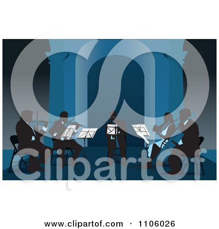 Clipart Silhouetted Musicians Playing Violins Violas Cello And A Trumpet In Blue Tones - Royalty Free Vector Illustration by David Rey