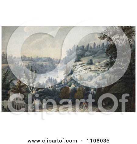 People, Horses And Carriages On A Road In Queenston, Ontario On The Niagara River - Royalty Free Historical Stock Illustration by JVPD