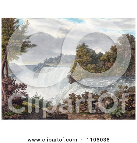 Two Goats Near American Falls, Niagara Falls, From Goat Island - Royalty Free Historical Stock Illustration by JVPD
