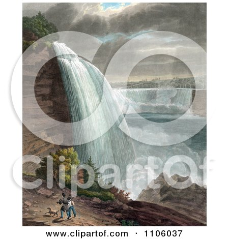 Two Men Carrying Guns And Walking With Their Dog Near Niagara Falls At Goat Island - Royalty Free Historical Stock Illustration by JVPD