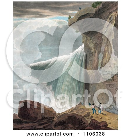 A Man At The Ledge Of A Cliff, Looking Down At Other People At Niagara Falls - Royalty Free Historical Stock Illustration by JVPD