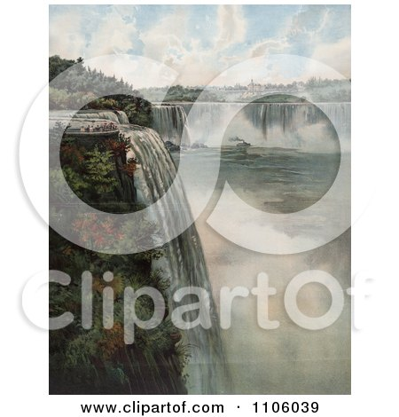 Tourists At The Top Of Niagara Falls, Viewing The Maid Of The Mist - Royalty Free Historical Stock Illustration by JVPD