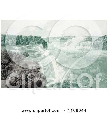 People Strolling In Prospect Point Park, Above Boats At Niagara Falls - Royalty Free Historical Stock Illustration by JVPD