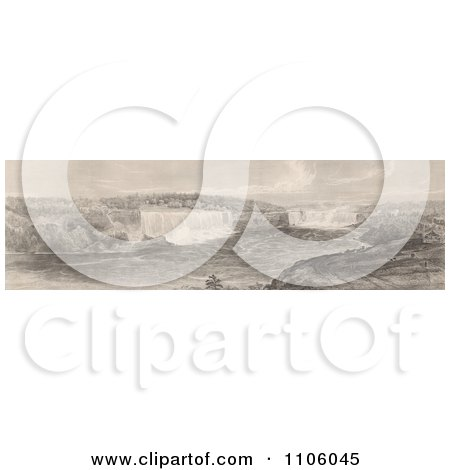 Sepia Toned Engraving Of Niagara Falls From The Canadian Side - Royalty Free Historical Stock Illustration by JVPD