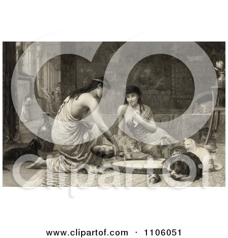 Sepia Toned Scene Of Two Young Women Feeding Kittens And Cats Around A Large Saucer - Royalty Free Historical Stock Illustration by JVPD