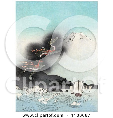 Dragon Rising To The Top Of Mt Fuji, Causing Strong Waves To Flow Towards Ships - Royalty Free Historical Stock Illustration by JVPD