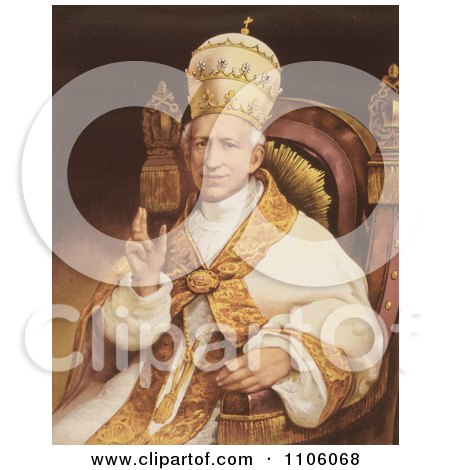 Portrait Of Pope Leo Xiii Sitting In A Chair - Royalty Free Historical Stock Illustration by JVPD