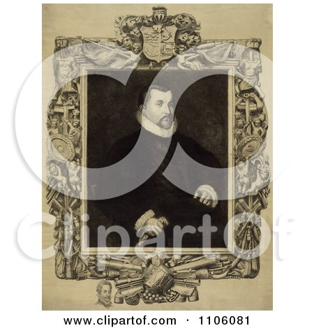 Portrait Of Christopher Columbus Seated With an Intricate Frame An Engraving By Dawson, c 1892 - Royalty Free Historical Stock Illustration by JVPD