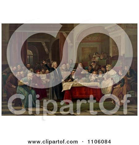 Christopher Columbus Standing and Pointing While Presenting His Request To Queen Isabella I And King Ferdinand V And Curious Gathering Courtiers At The Royal Court Of Spain - Royalty Free Historical Stock Illustration by JVPD