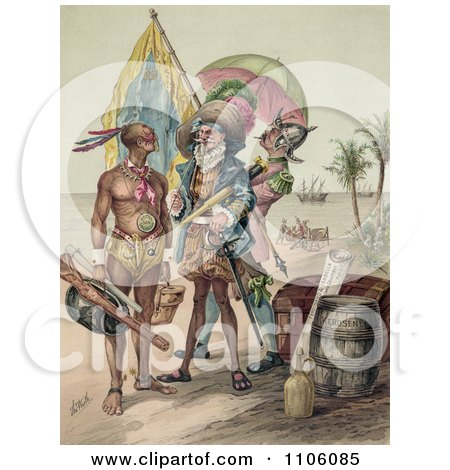 Christopher Columbus Speaking To A Native Man During The Landing Of Columbus At San Salvador In 1492 - Royalty Free Historical Stock Illustration by JVPD