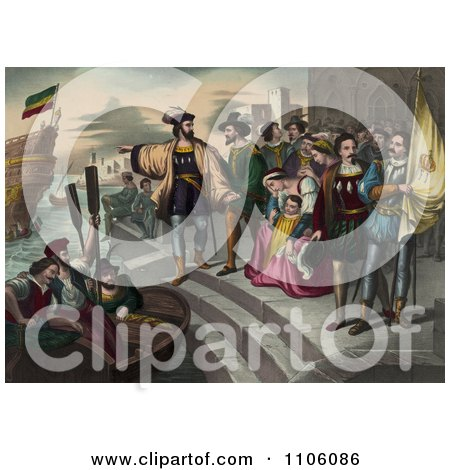 Christopher Columbus Pointing And Preparing To Get Into A Rowboat To Board Onto His Ship As People Watch During The Departure Of Columbus - Royalty Free Historical Stock Illustration by JVPD