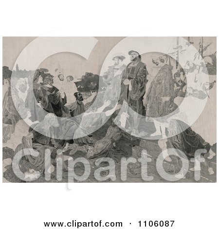 Christopher Columbus In Chains, Returning To Cadiz, Spain As People Kneel And Throw Themselves At His Feet - Royalty Free Historical Stock Illustration by JVPD